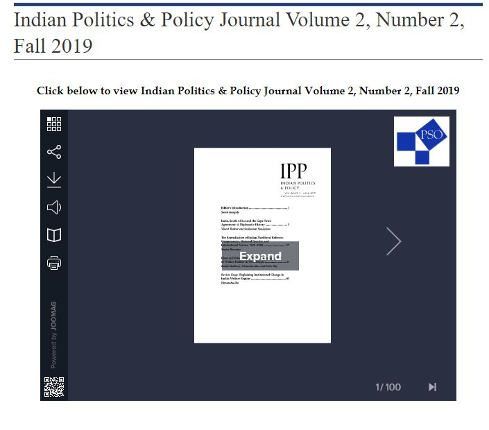 Indian Politics & Policy journal cover