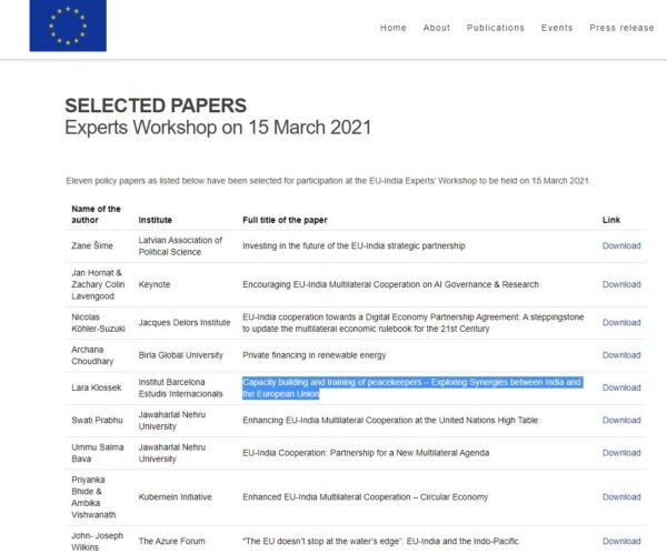 screenshot of webpage for EU experts workshop