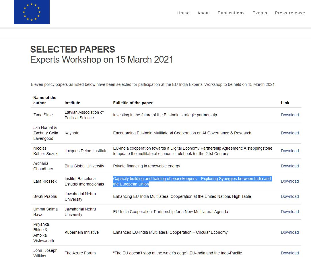 screenshot of webpage for EU experts workshop