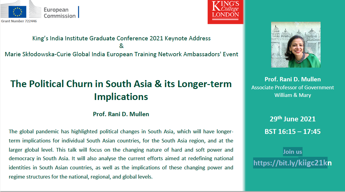 Screenshot of poster King's College Event June 2021